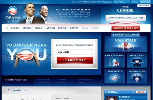 Snapshot of Barrack Obama's campaign website (2008)