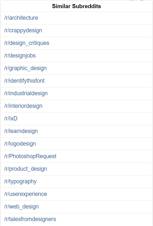 The sidebar of /r/Design